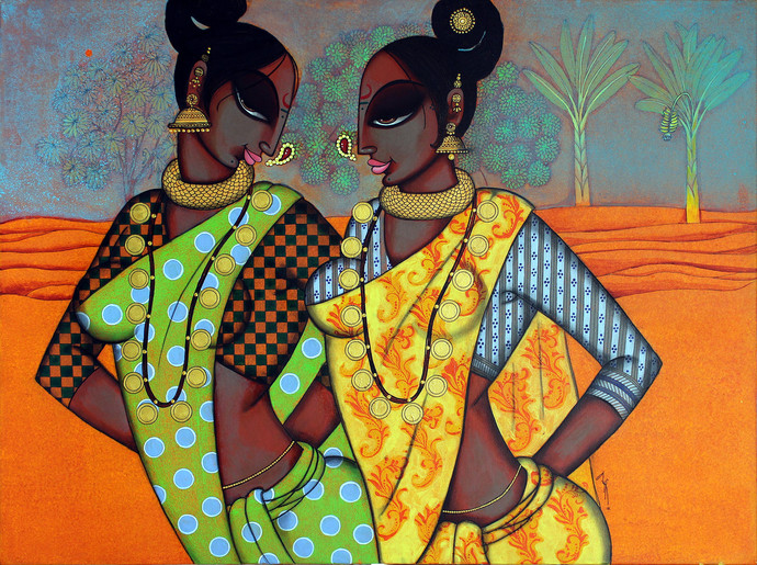 Two Friends 2 - Painting by Varsha Kharatmal