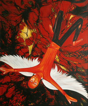 Fall in Dream by Surajit Santra, Fantasy Painting, Acrylic on Canvas, Brown color