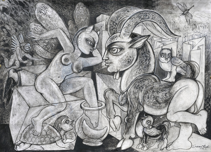 Savage Garden by Satwant Singh, Conceptual Painting, Acrylic & Ink on Paper, Gray color