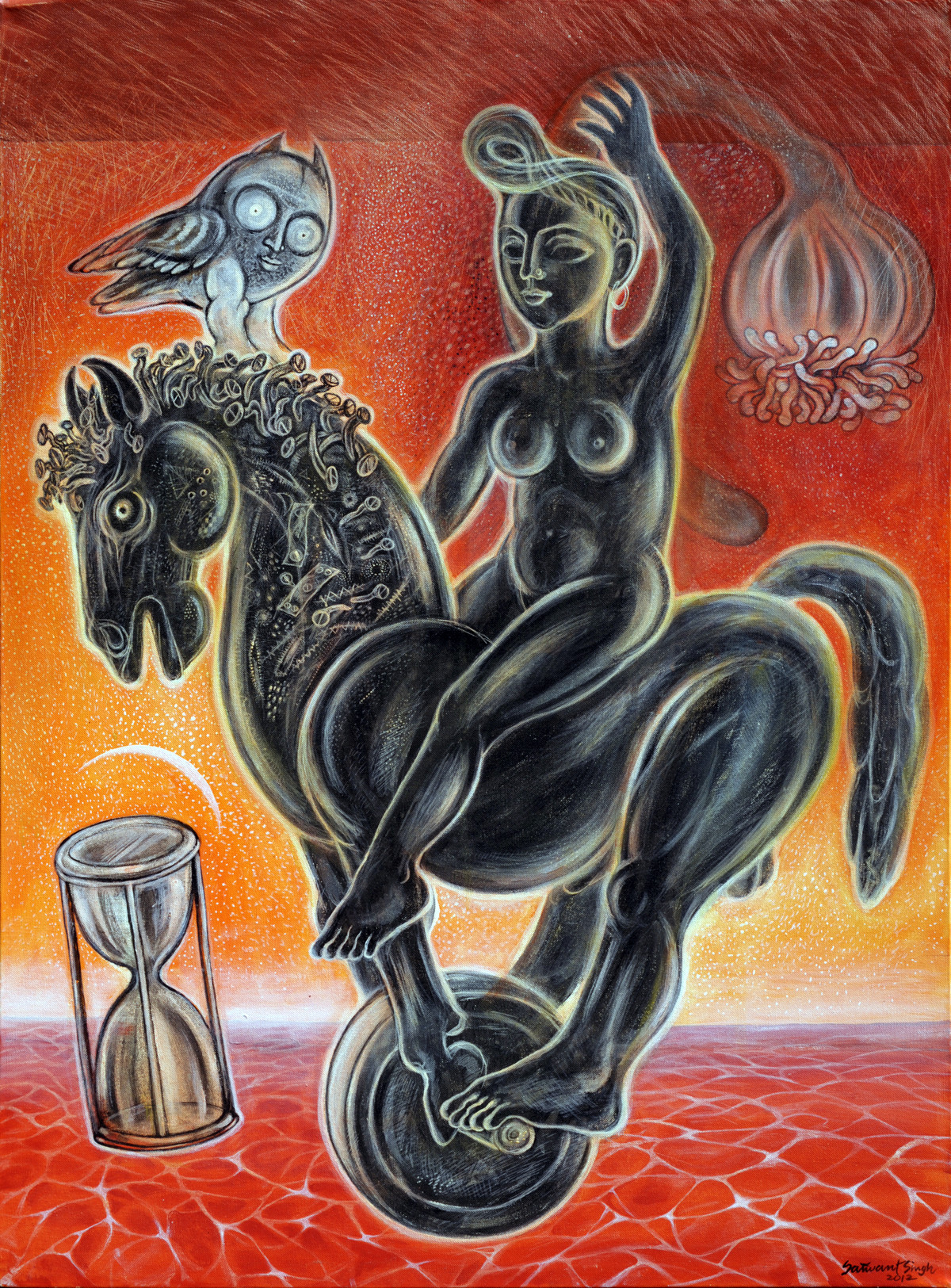 The Rider with an Hourglass Digital Print by Satwant Singh,Conceptual