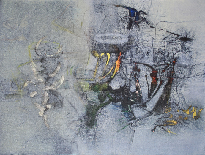 Untitled by Rajesh Ambalkar, Abstract Painting, Acrylic on Canvas, Gray color