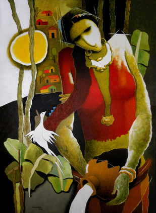 Untitled - Painting by Surendra Pal Singh