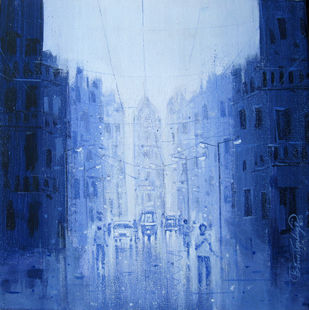 City - 745 - Painting by Suresh Gulage