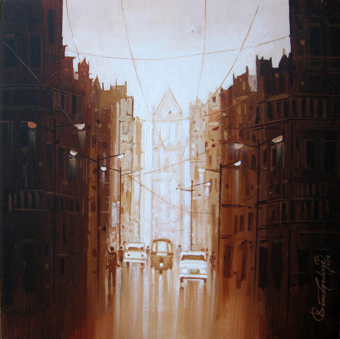City - 747 by Suresh Gulage, Impressionism Painting, Acrylic on Canvas, Brown color