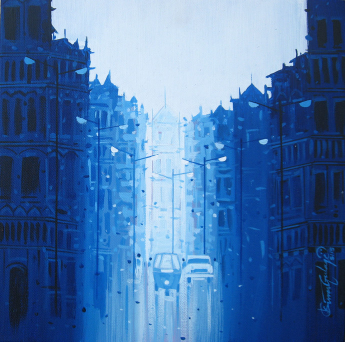 City - 749 by Suresh Gulage, Impressionism Painting, Acrylic on Canvas, Blue color