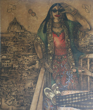 Where are my new Raybans?? by Rajeswara Rao, Pop Art Painting, Acrylic on Canvas, Brown color