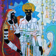 Ethnic Serendipity 46 by Anuradha Thakur, Traditional Painting, Acrylic on Canvas, Cyan color
