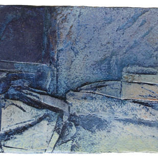 Untitled by Vishakha Apte, Abstract Painting, Oil on Paper, Blue color