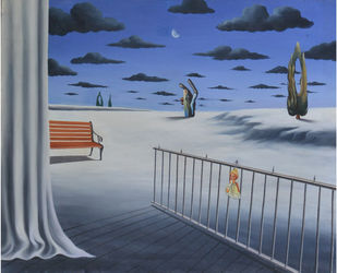 Moon Struck by Prosenjit Das, Surrealism Painting, Acrylic on Canvas, Blue color