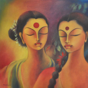 Silent Conversation - Painting by Manisha Raju