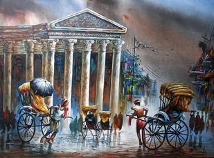 Heritage Kolkata - Painting by Ananda Das