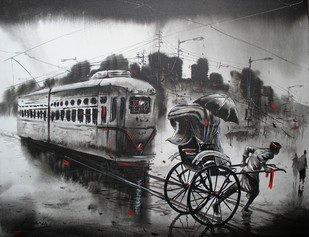 Tram With Rickshaw - Painting by Ananda Das