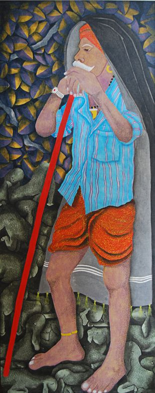 The Standing Shepherd  - Painting by Sukka Sunder