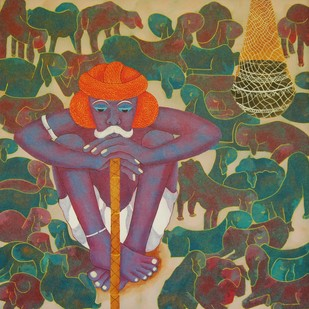Sitting Shepherd by Sukka Sunder, Traditional Painting, Acrylic & Ink on Canvas, Brown color