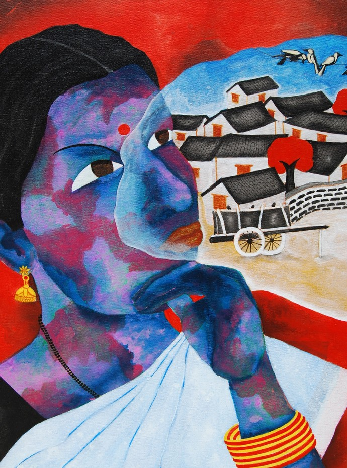 The Memory by Sukka Sunder, Traditional Painting, Acrylic & Ink on Canvas, Blue color