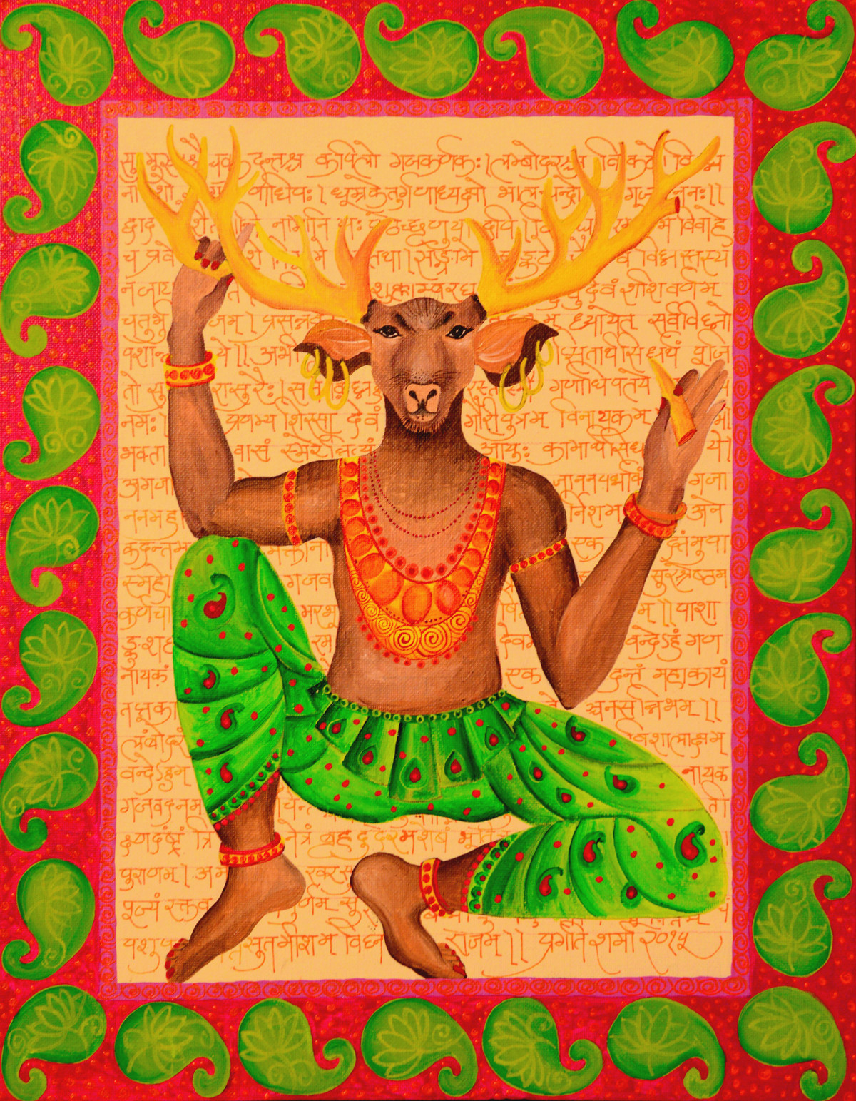 Hiranya Yogi by Pragati Sharma Mohanty, Traditional Painting, Acrylic on Board, Brown color