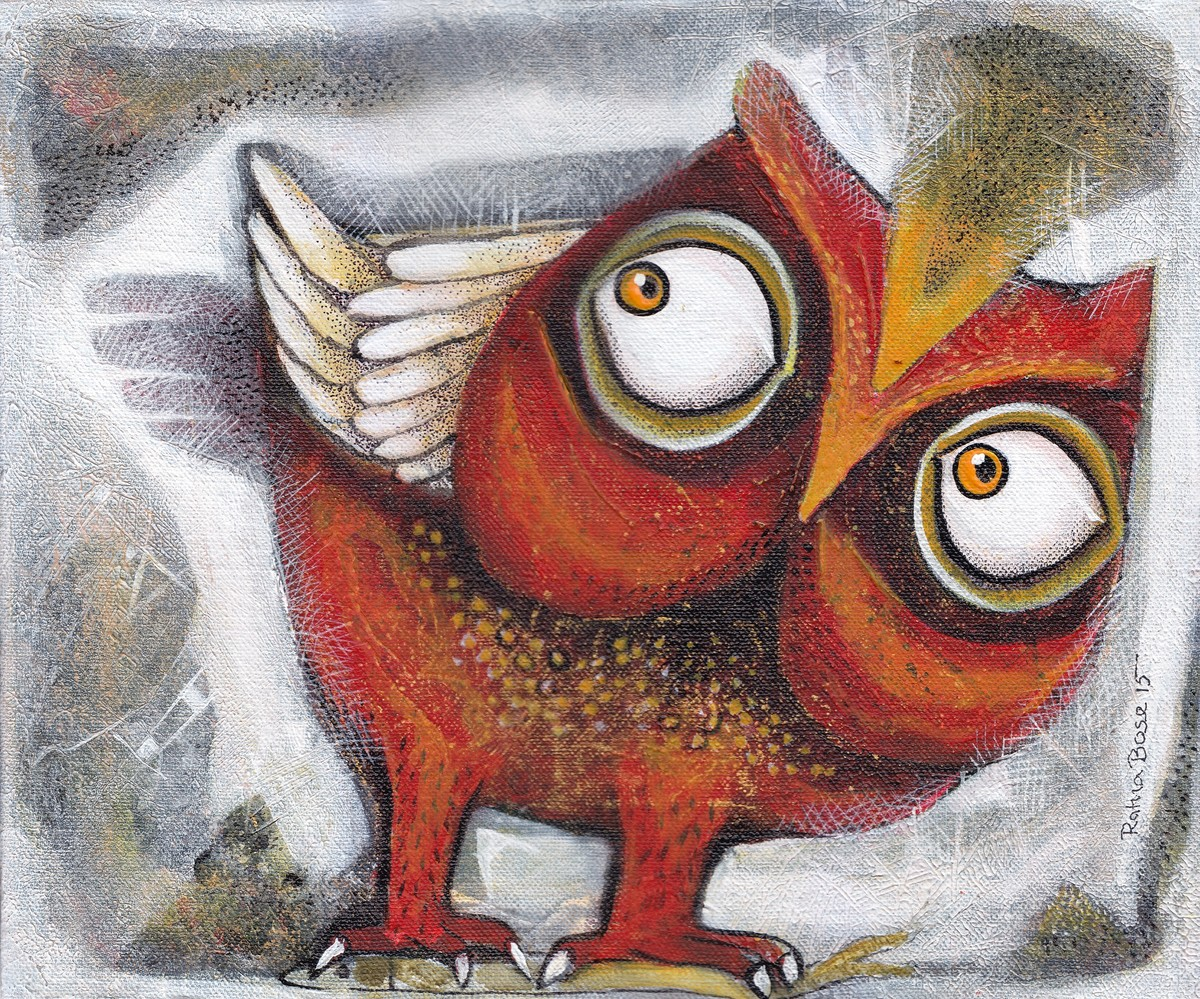 Owl XVIII by Ratna Bose, Decorative Painting, Acrylic on Canvas, Brown color