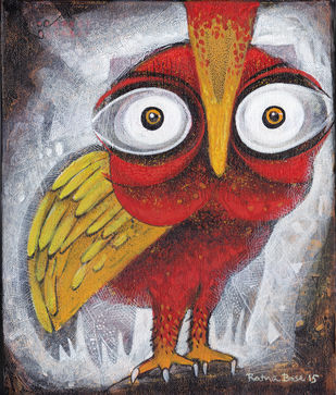 Owl XIX by Ratna Bose, Decorative Painting, Acrylic on Canvas, Brown color