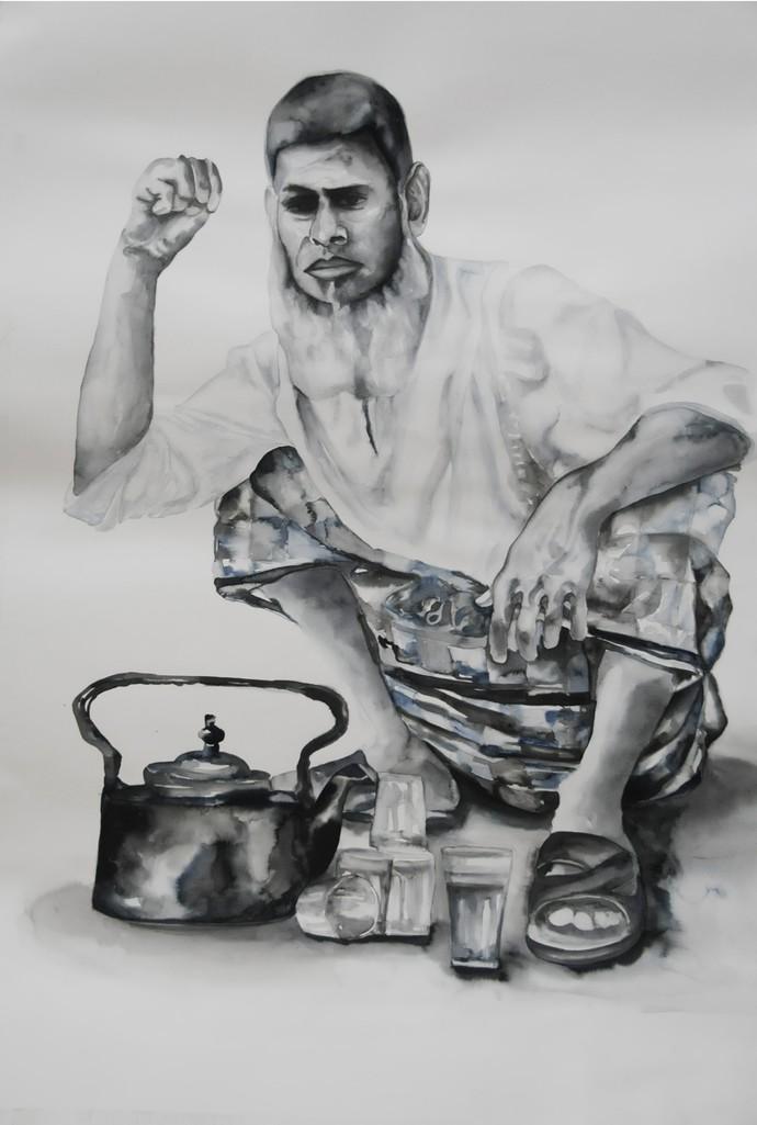 Chaiwala - Painting by Afza Tamkanat