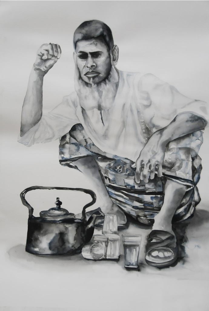 Chaiwala by Afza Tamkanat, Decorative Painting, Watercolor & Ink on Paper, Gray color