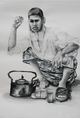 Chaiwala - Painting by Afza Tamkanat
