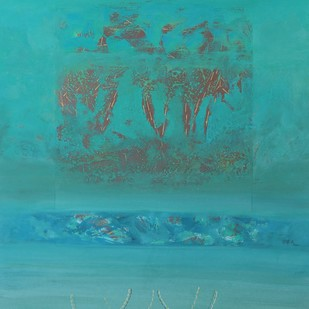 Nature by Vivek Nimbolkar, Abstract Painting, Mixed Media on Paper, Cyan color