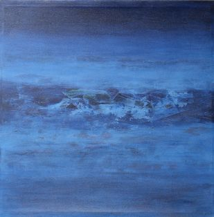 Nature 5 by Vivek Nimbolkar, Abstract Painting, Mixed Media on Canvas, Blue color