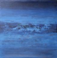 Nature 5 by Vivek Nimbolkar, Abstract Painting, Mixed Media on Canvas, Blue color