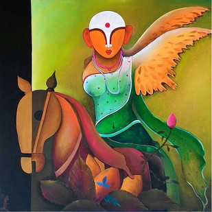 Mother Earth by anupam pal, Decorative Painting, Acrylic on Canvas, Green color