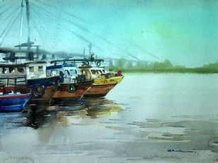 Kolkata 1 by Abak Kundu, Impressionism Painting, Watercolor on Paper, Cyan color