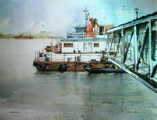 Kolkata 2 by Abak Kundu, Impressionism Painting, Watercolor on Paper, Green color