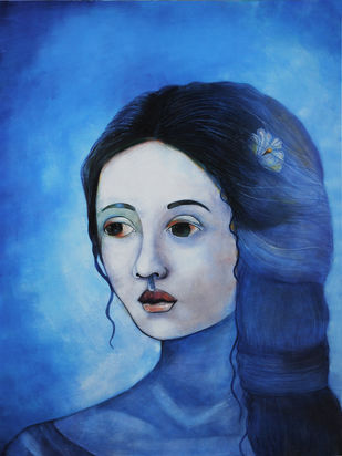Ephemeral Muse by Studio Zaki, Painting, Acrylic on Canvas, Blue color