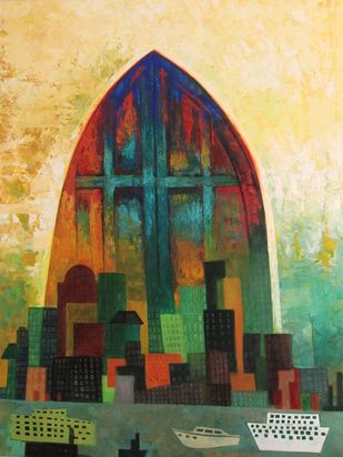 The City And The Door by Studio Zaki, Conceptual Painting, Acrylic on Canvas, Green color