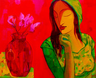 Saveri with flowerpot by Avinash Mokashe, Painting, Acrylic on Board, Red color