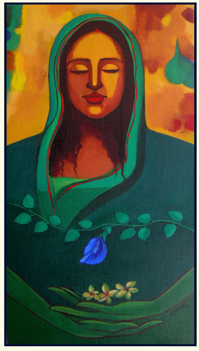 Meditation by Avinash Mokashe, Painting, Acrylic on Board, Green color