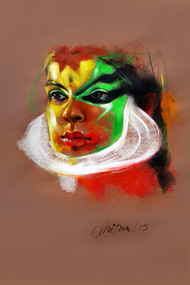 Expression by Mithun Dutta, Decorative Drawing, Dry Pastel on Paper, Brown color