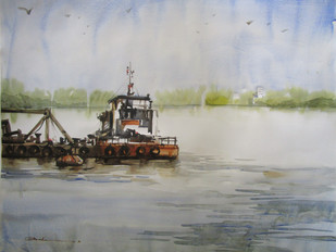 Reflection - Kolkata by Abak Kundu, Impressionism Painting, Watercolor on Paper, Gray color
