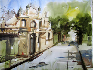 Kolkata 3 by Abak Kundu, Impressionism Painting, Watercolor on Paper, Beige color