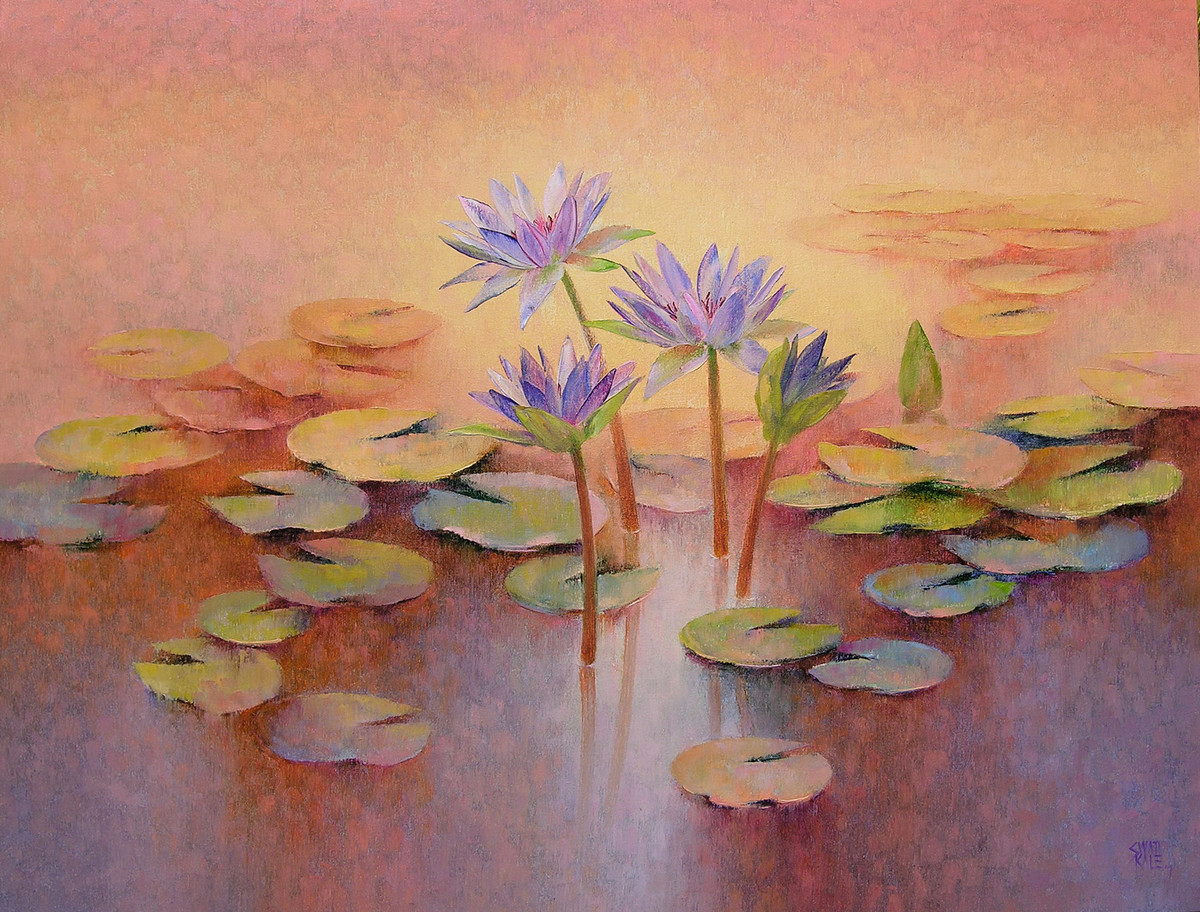 Water lilies by Swati Kale, Impressionism Painting, Oil on Canvas, Brown color