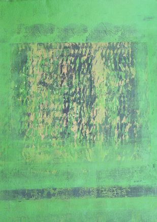 Nature 6 by Vivek Nimbolkar, Abstract Painting, Mixed Media on Paper, Green color