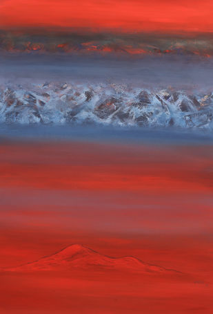 Nature 8 by Vivek Nimbolkar, Abstract Painting, Watercolor on Paper, Red color