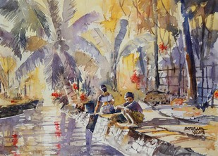 Waiting for breakfast - Painting by Mopasang Valath