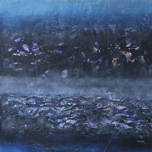 Nature 9 by Vivek Nimbolkar, Abstract Painting, Watercolor on Paper, Blue color