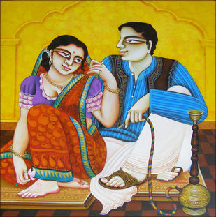 CHARULAATA by Gautam Mukherjee, Traditional Painting, Acrylic on Canvas, Brown color