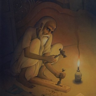 The Old Worker II by Rajib Gain, Realism Painting, Watercolor Wash on Paper, Brown color