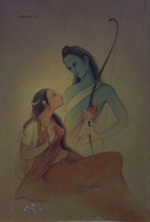Rama & Sita by Rajib Gain, Realism Painting, Watercolor Wash on Paper, Brown color
