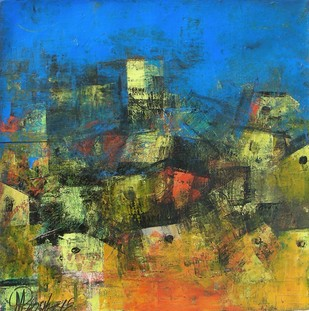 Village of my Dreams_12 - Painting by M Singh