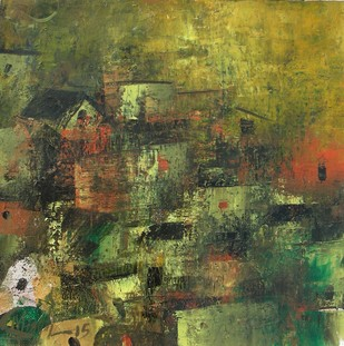 Village of my Dreams_13 - Painting by M Singh