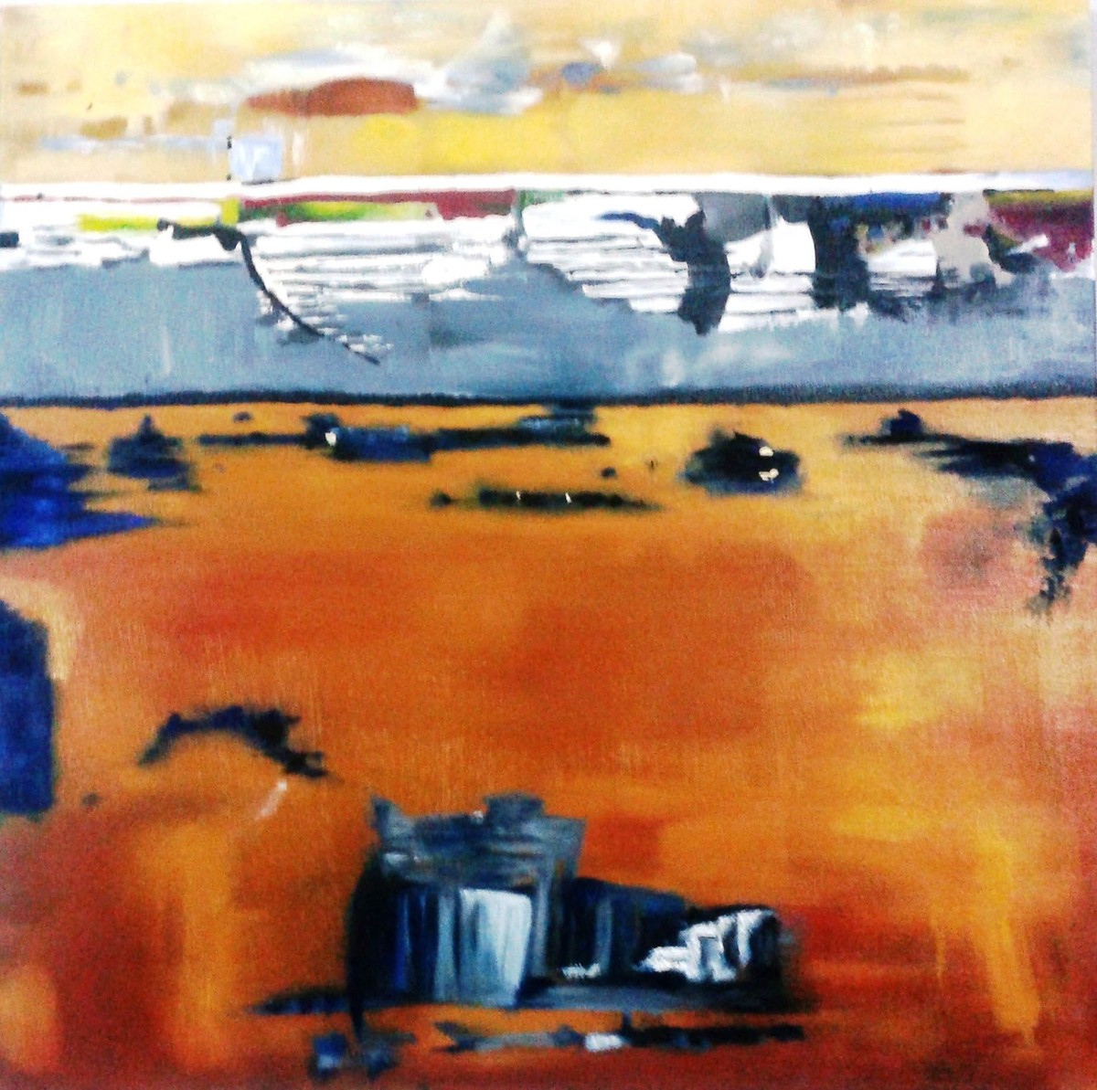 Untitled 2 by Vineeta Vadhera, Abstract Painting, Oil on Canvas, Brown color