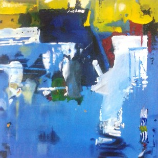 Untitled 1 by Vineeta Vadhera, Abstract Painting, Oil on Canvas, Blue color